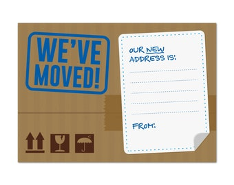 Moving House / Home Notification Cards, Pack of 16, Packing Box Design