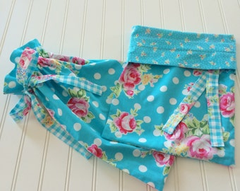 Pretty turquoise and pink floral polka dot shoe bags/travel bags