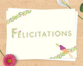 Card congratulations, birth, marriage, review, etc - country Collection