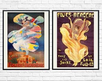 French Vintage, Folies Bergere print, Art Nouveau Print,Vintage Theater ad, French Art Print, Loie Fuller, Tous Les Soirs, Print Set