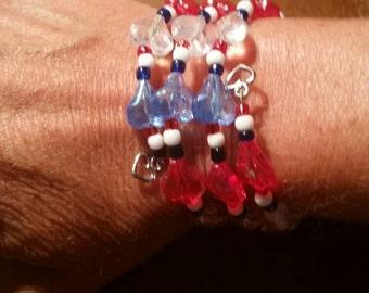 Red, white & blue beaded wrap bracelet