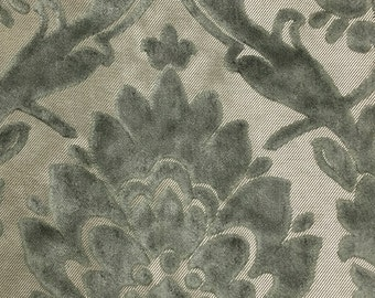 Upholstery Fabric - Radcliffe - Pewter - Lurex Burnout Velvet Damask Upholstery, Drapery & Pillow Fabric by the Yard- Available in 23 Colors