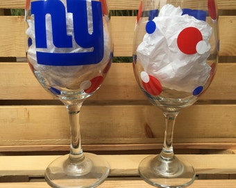 New York Giants Football Wine Glass