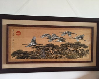 SALE - Limited Edition 100% Handmade,Natural Shell Art,Traditional Chinese painting