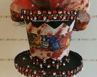 Five Nights at Freddys Hair Bow, Five Nights at Freddys Mini Top hat, Five Nights at Freddys Hat, FNAF Bow, FNAF Hat