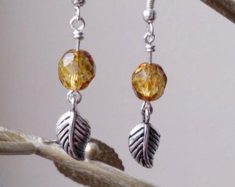 Czech round speckled lustre beads leafed earrings