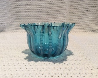 "Stevens & Williams Victorian Blue Glass Bowl Rd 55693 3.5"" diameter 2"" tall"