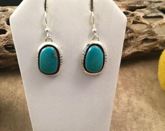 Vintage Navajo Kingman Turquoise and Sterling Silver Dangle Earrings