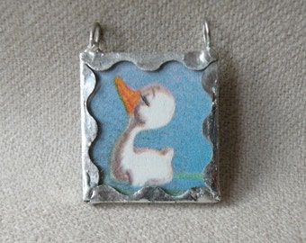 Little Duckling - Handmade Soldered Glass Pendant with Vintage Disney Illustration