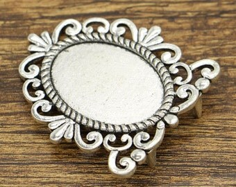 2pcs Mirror Pendant Trays Bezel Settings Antique Silver Tone 49x57x13mm cf2406