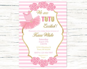 Tutu Excited Baby Shower Invitation, Pink And Gold Baby Shower, Ballet  Invitation, Girl