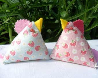 Chicken Pincushion/Pattern Weight/Ornament Kit to make 2, Pink and Blue or Red and Orange