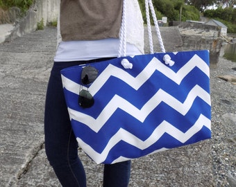Oversized Beach Tote in Blue Chevron- Camano Collection - Large Beach Bag - Blue Beach Bags - Weekend Bag - XL Beach Bags Chevron Beach Bag