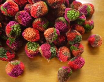 Handmade tribal pom poms - 100 pieces, multi coloured - for craftwork - Fairtrade tribal craft supply for crafting - new pom poms
