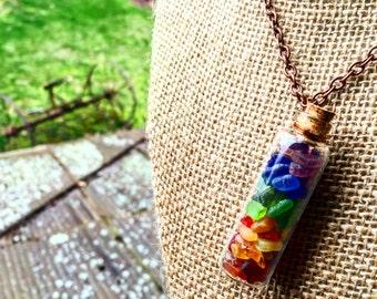 rainbow sea glass bottle pendant