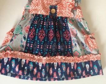 Clara flutter sleeve dress - flutter sleeve top - tribal dress - toddler dress - baby girl dress