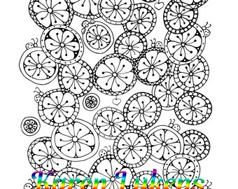 Spinners, 1 Adult Coloring Book Page, Printable Instant Download, Flower Doodles, Karen Lukens