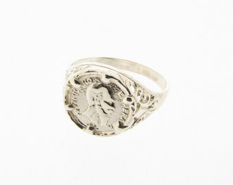 Sterling Silver Maximiliano Emperador Peso Coin Ring - UK Sizes I - S - US Sizes 4 - 9