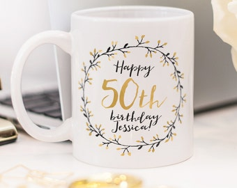 Birthday mug, great customized present for 50th birthday