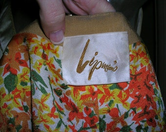 Vintage 1950's mad men style yellow linen & floral satin stunning wiggle dress and matching jacket by Lipmans with matching corsage size: 10
