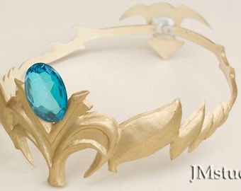 Princess Zelda's crown with back piece with acrilic gems, resin, custom made