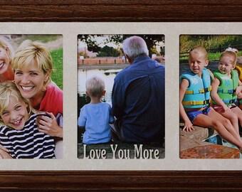 5x7 JUMBO™ Love You More Triple Photo Frame ~ Holds 3 Portrait 5x7 Photos ~ Anniversary/Wedding/Birthday/Grandparents/Engagement Photo Frame