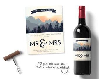 Personalised wedding wine, Personalised Wine Labels, mountain wine label, nature inspired wine label, printable wedding wine set, stationary