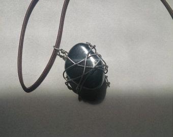 Hematite wire-wrapped pendant