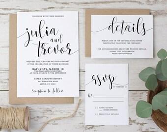 Printable wedding invitation suite, Modern wedding invitation set, Printable wedding invitation