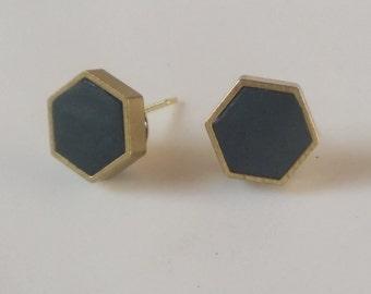 Brass & clay post earrings