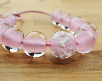 Set of 11 Pink and White Lampwork Beads