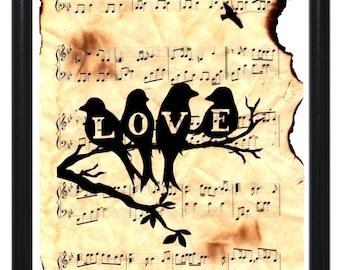 Original One-Of-A-Kind Sheet Music Art - LOVE Birds