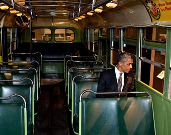 "President Barack Obama Sits on a Seat in the ""Rosa Parks Bus"" - 5X7 or 8X10 Photo (DD-046)"