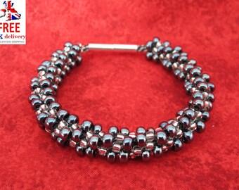 Chunky Gunmetal/silver Kumihimo Bracelet