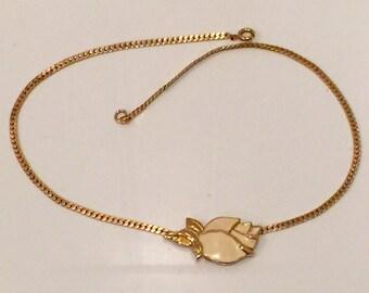 Trifari Necklace, Vintage Trifari Necklace, Gold Tone Trifari Ncklace, Enamel Rosebud Flower Trifari Necklace