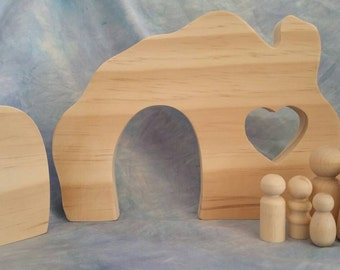 RAW Wooden Gnome Home with or without peg doll family