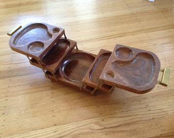 Vintage Mid Century Sewing Caddy or Snack Tray