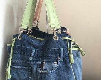 Denim Jean boho style handbag with green leather trim