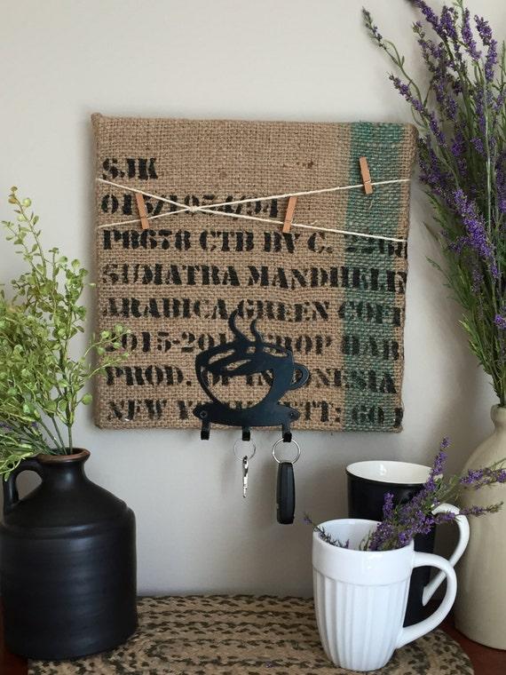 Key Hanger/Burlap Memo Board/Cork Board/Recycled Coffee Bean Bag/Coffee Theme Decor/12x12 Key Holder/Sumatra Arabica Green/Coffee Lover Gift