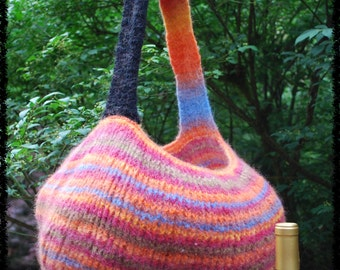 Hand knitted tote