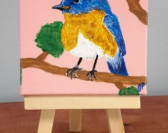 Blue bird painting, bird decor, blue, pink,tan, bird on branch, original painting, gift, gift under 20, tiny painting, small art, 3x3 canvas