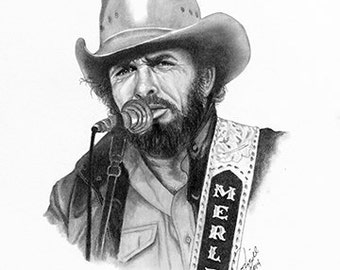 "11x14"" Merle Haggard2 Economy Print by Award Winning Artist, Corey Frizzell"