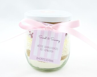 Raspberry cookies cake mix cookies with white chocolate, ideal as a gift for birthdays, Christmas, Easter, gifts for you