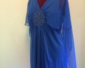 Vintage 1970's boho chic blue dress angel wings