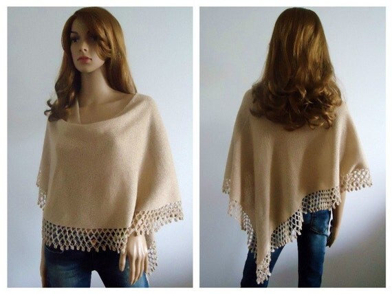 Wheat chic poncho sweater Ready to ship lightweight warm knits Beige Hand knitted poncho jumper hand made Women Poncho