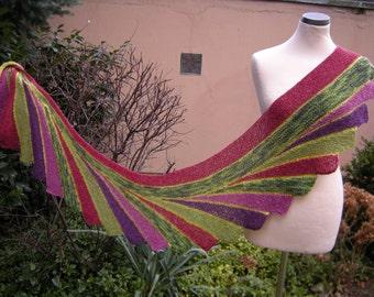 Colorful hand knit shawl stole scarf Fächerschal