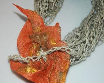 Orange, linen necklace