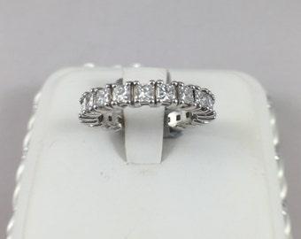 Natural Diamond Eternity Ring. 2.50 (TCW) Princess Cut. 14k White Gold
