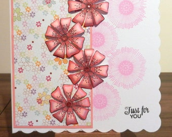 Pink flowers Layered and Stamped