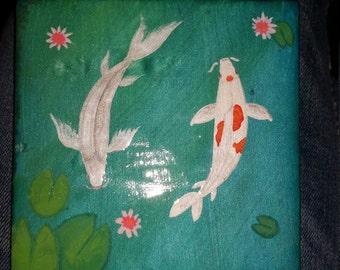OOAK Painted Tile Coaster Set